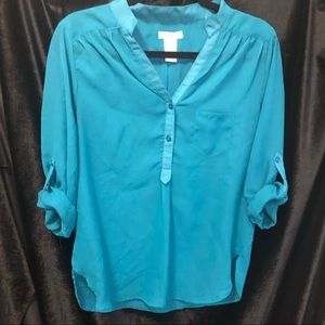 Tops - Teal Chiffon Blouse